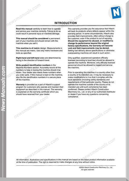Hitachi Zx450Lch Operator Manual