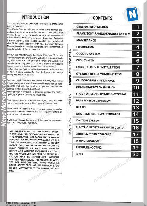 Honda Cb 400F Cb1 89 Service Manual