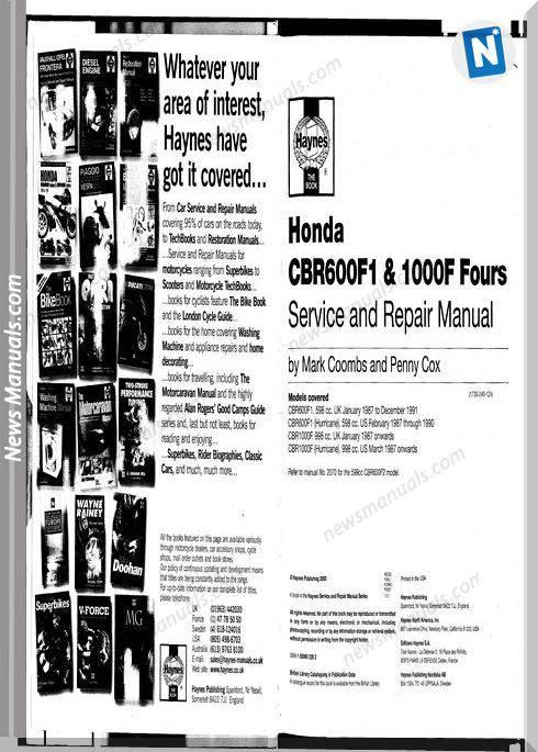 Honda Cbr600 F 87 90 Cbr1000 F 87 96 Haynes Service Manual
