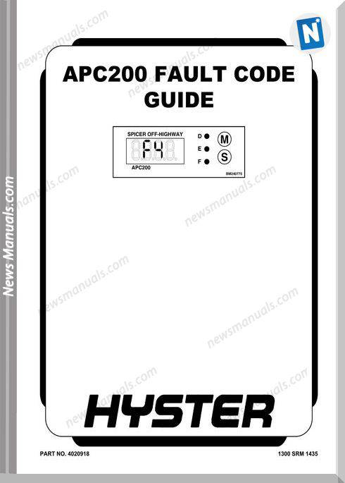 Hyster Apc200 All Fault Code Guide No Number 4020918