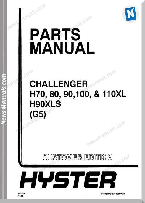 Hyster Challenger H70 80 90 110Xl H90Xls G5 Part Manual