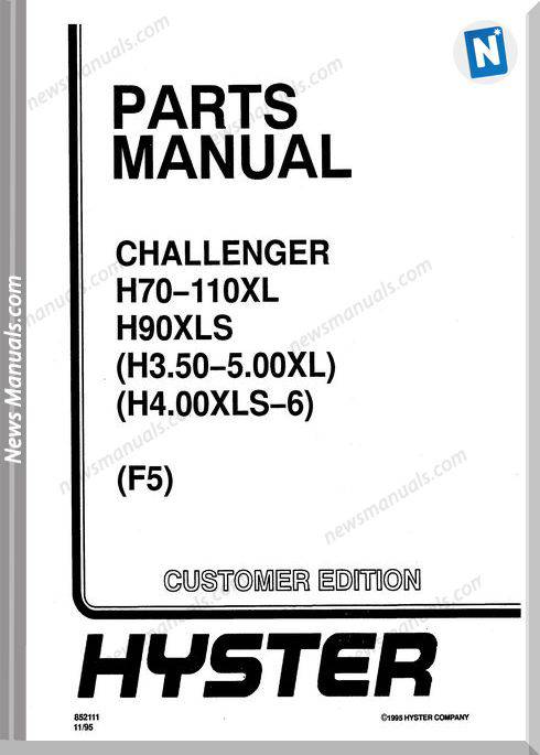Hyster Challenger H70 H90 H3.5 H4.0Xls F5 Parts Manual