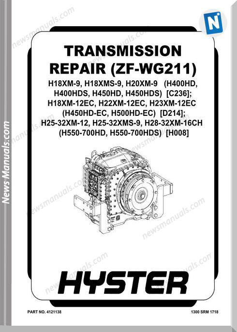 Hyster With Zf-Wg211 Transmission Repair Manual