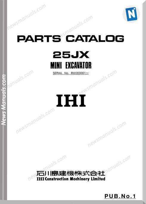 Ihi Mini Excavator 25Jx Parts Catalog