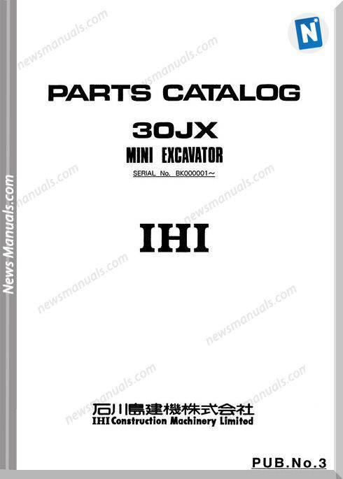 Ihi Mini Excavator 30Jx Parts Catalog