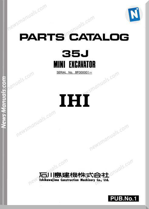 Ihi Mini Excavator 35J E Parts Catalog