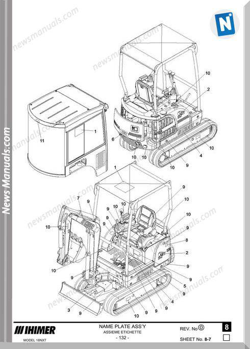 Ihi Mini Excavator Kabine 18Nxt Parts Catalog