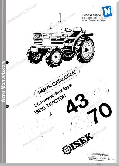 Iseki Model Te4320 Te4370 Parts Catalogue Manuals
