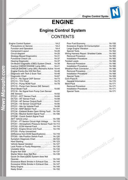 Isuzu 4Hk1T Lg4Hk We 0229Dom Manual Engine System