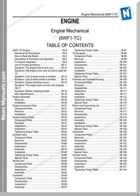 Isuzu Engine 6Wf1-Tc Commanrail Workshop Manual