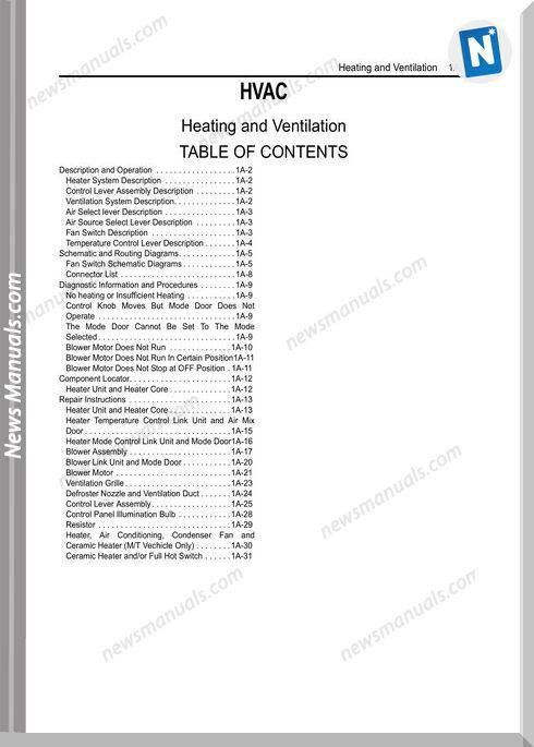 Isuzu Engine Heating And Ventilation