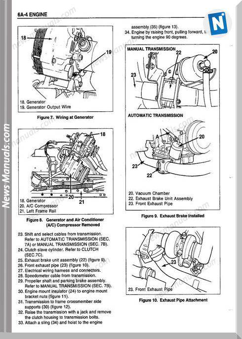 Isuzu Model 4Bd2-T Diesel Engine Repair Manuals