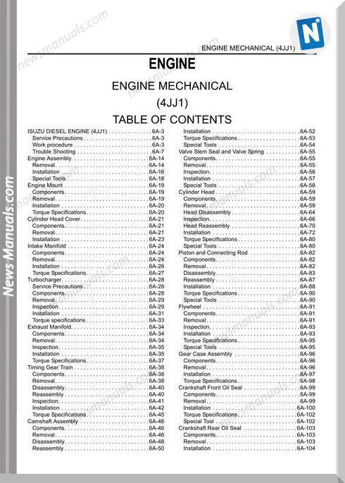 Isuzu N Series Engine 4Jj1 2007 Workshop Manual
