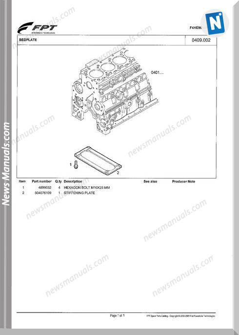 Iveco Fpt F4He9684P J101 Spare Parts Catalog