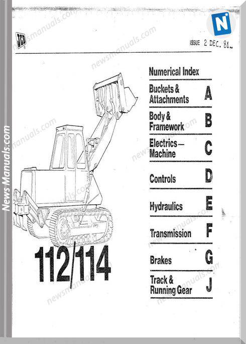 Jcb Old 112 114 Parts Catalogue