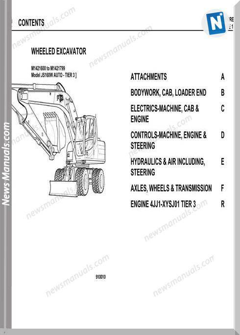Jcb Wheeled Excavator Js160W Tier 3 Parts Catalogue