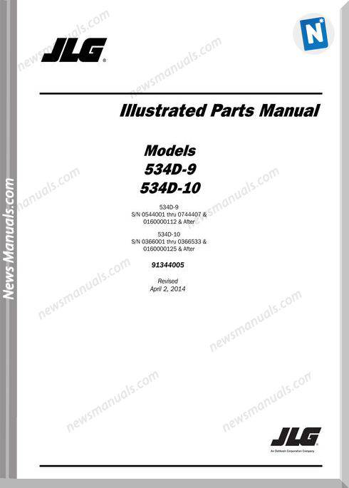 Jlg 534D 9 534D 10 Telehandler Parts Manual