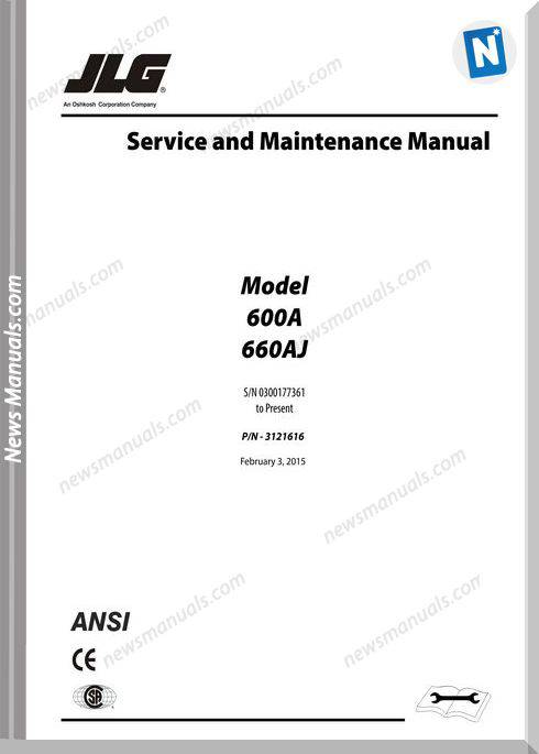 Jlg 600A And 600Aj Service And Maintenance Manual