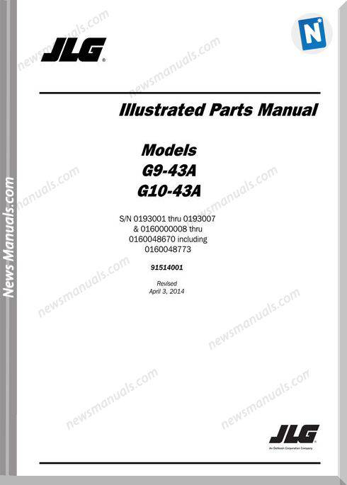 Jlg G10 43A Telehandler Parts Manual