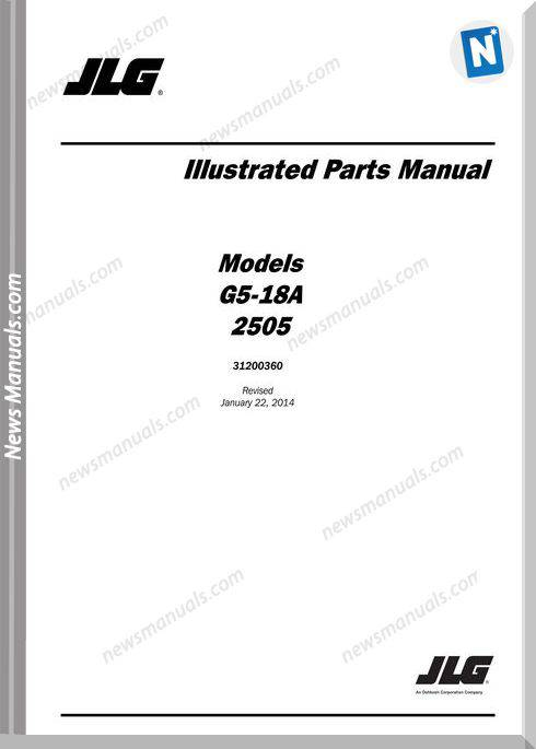 Jlg G5 18A 2505 Telehandler Parts Manual