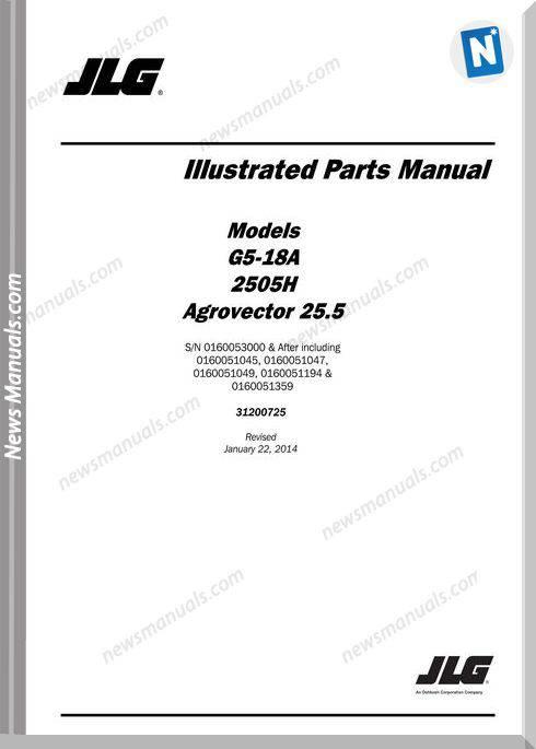 Jlg G5 18A 2505H Telehandler Parts Manual