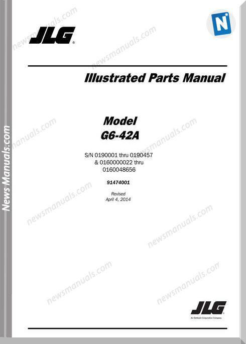 Jlg G6 42A Sn 0190001 Thru 0190457 Telehandler Parts