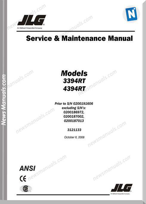 Jlg Service And Maintenance Manual (3394Rt And 4394Rt)