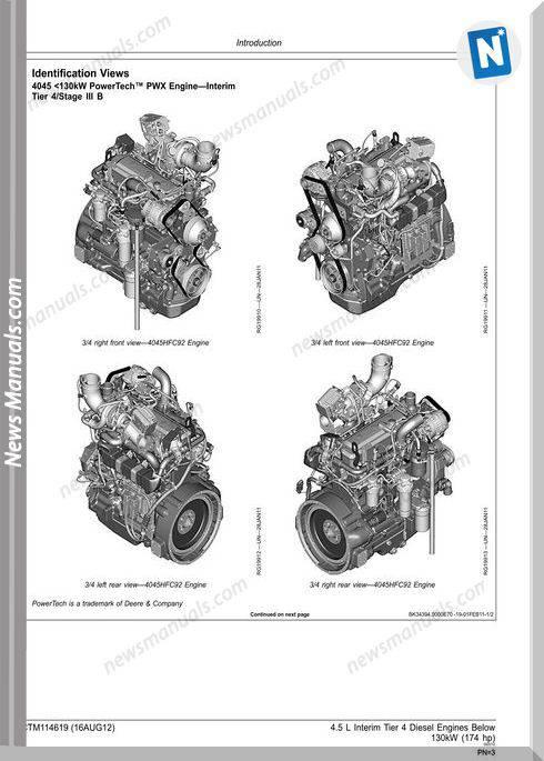 John Deere 4.5L Interim Tier 4 Engines Below 130Kw