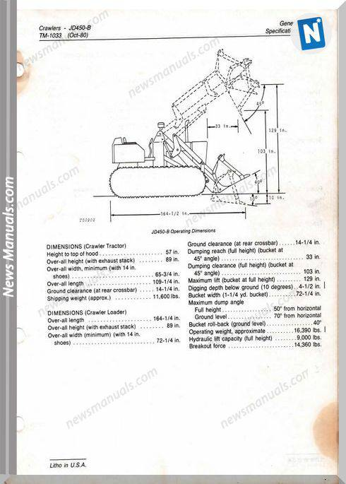 John Deere 450 Loader Tm-1033 Models Repair Manuals