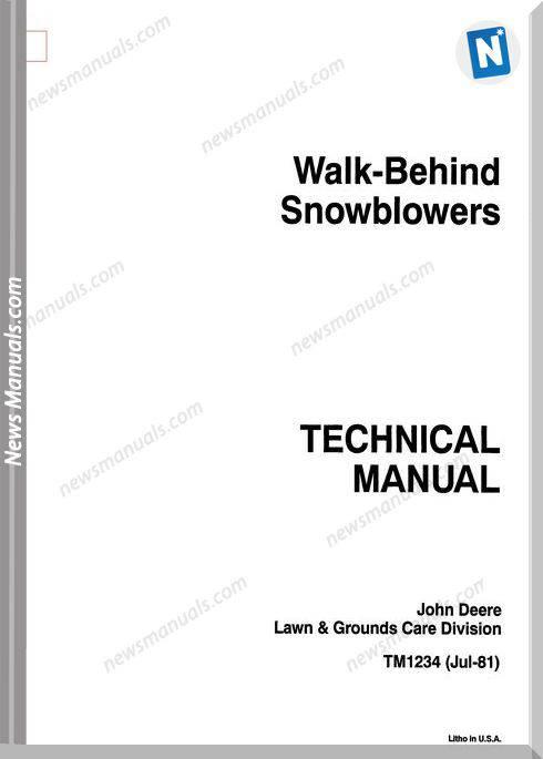 John Deere 526-1032 Walk Behind Snow Repair Manual