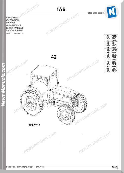 John Deere 8400 Parts Catalog