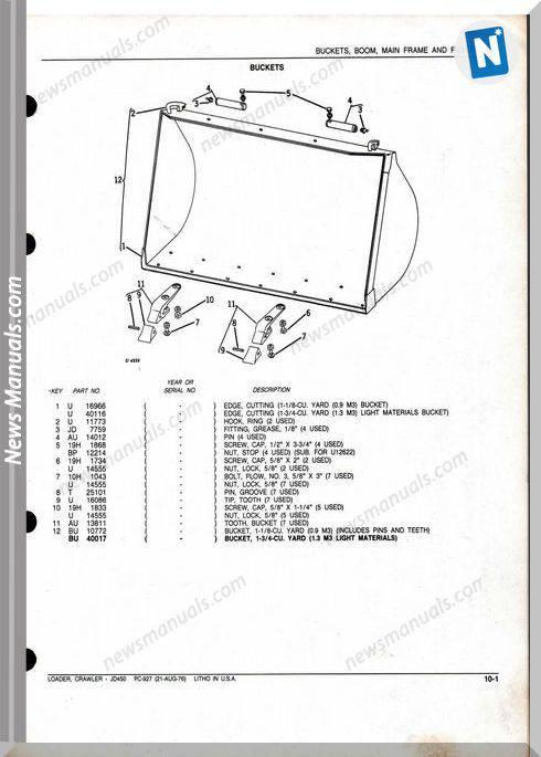 John Deere Crawler Loader Jd450 Parts Manual