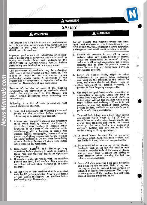 Kobelco Sk200V Lcv Hydrualic Excavator Shop Manual
