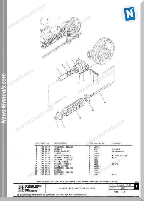 Koehring And Bantam Excavators 6605 Parts Book 108301
