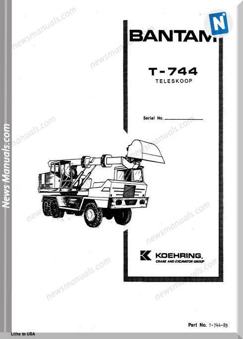 Koehring Bantam Telescoops Telecranes T744 Parts 4205549