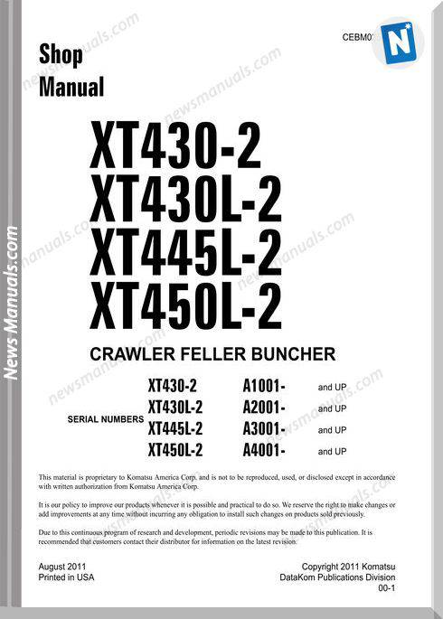 Komatsu Crawler Feller Bunchers Xt450L-2 Shop Manual