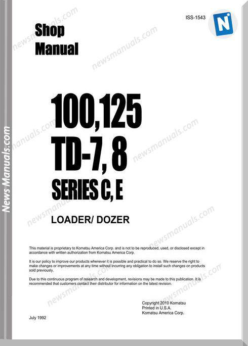 Komatsu Crawler Loader 100,125 Td-7,8 Shop Manual