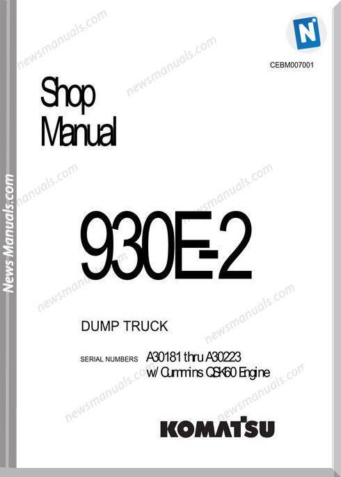 Komatsu Dump Truck 930E 2 Shop Manual Cebm007001
