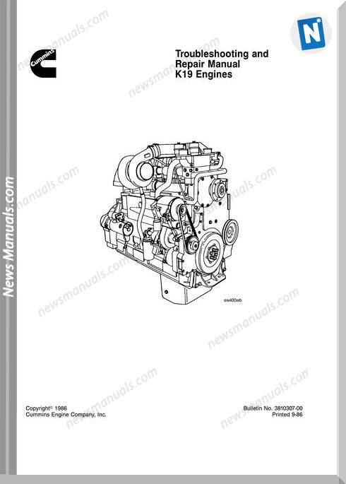 Komatsu Engine K19 Shop Manuals