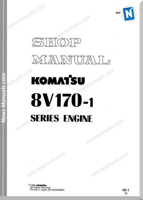 Komatsu Engine Sa8V170-1 Shop Manuals