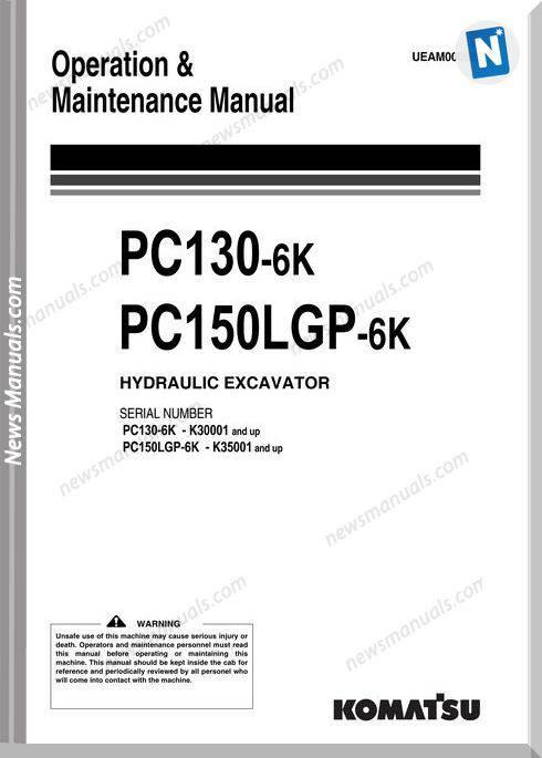Komatsu Excavator Pc130 Pc150Lgp 6K Maintenance Manual