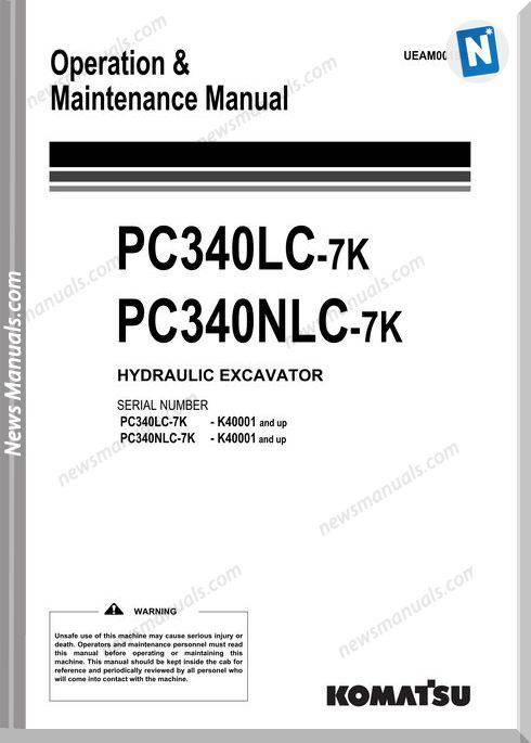 Komatsu Excavator Pc340Lc 340Nlc 7K Maintenance Manual