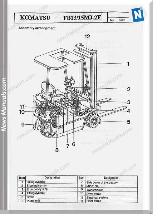 Komatsu Forklift Fb13-15Mj-2E S.Mj-2E Shop Manual