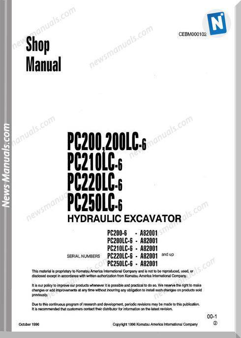 Komatsu Hydraulic Excavator Pc200 250Lc 6 Shop Manual
