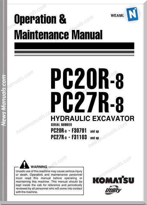 Komatsu Hydraulic Excavator Pc20R 27R 8 Maintenance Manual