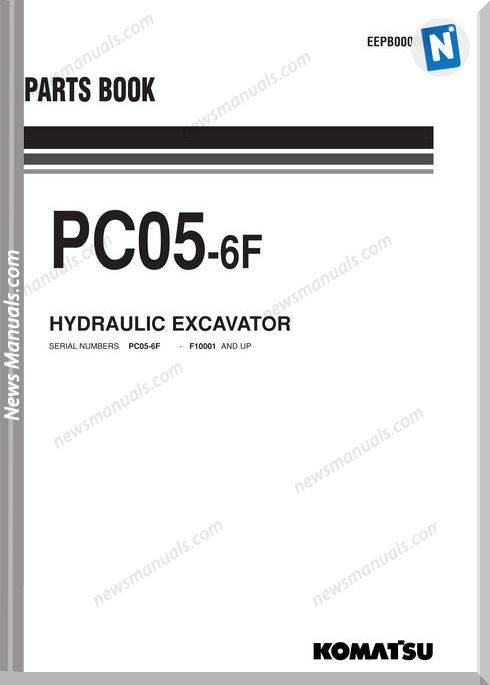 Komatsu Pc05 6F Hydraulic Excavator Parts Book