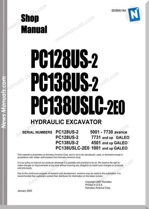 Komatsu Pc128Us-2 Models Shop Manual