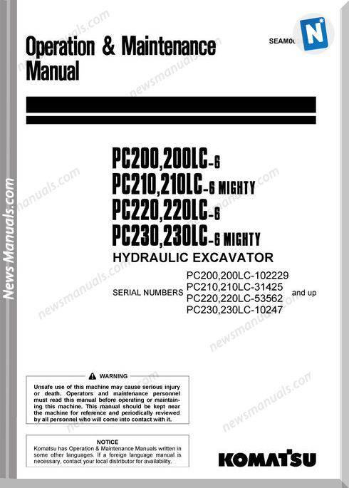 Komatsu Pc200 Pc210 Pc220 Pc230 6 Om Maintenance Manual