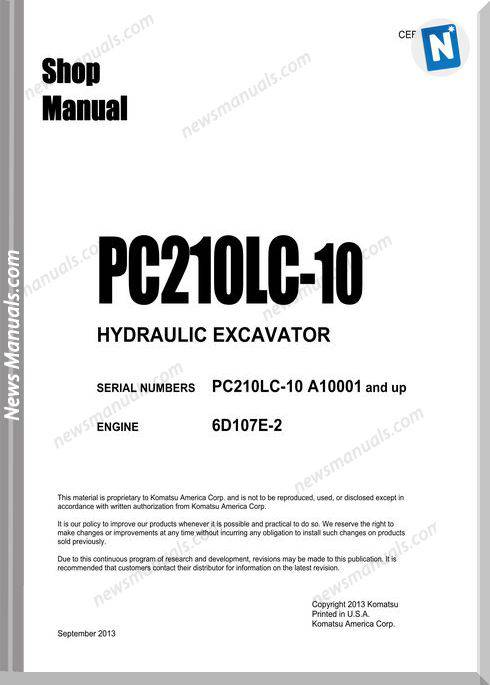 Komatsu Pc210Lc 10 Hydraulic Excavator Shop Manual