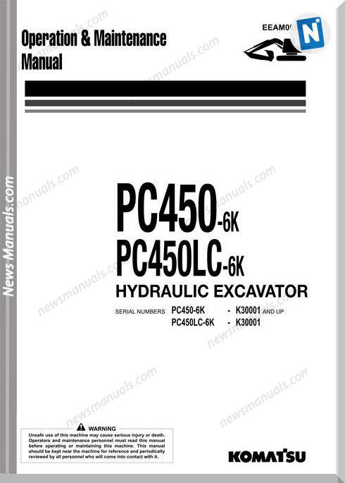 Komatsu Pc450 450Lc 6K Operation Maintenance Manual